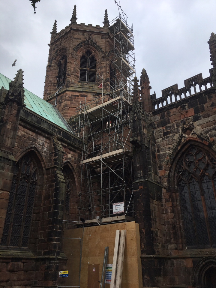 Scaffold on church in Nantwich, Cheshire.